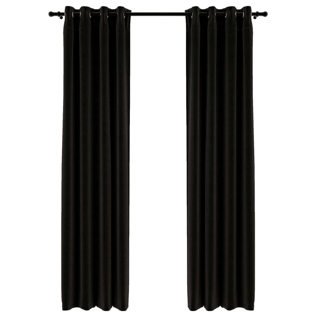 Lot de 2 rideaux Blackout + Œillets 140x245cm Lin Anthracite