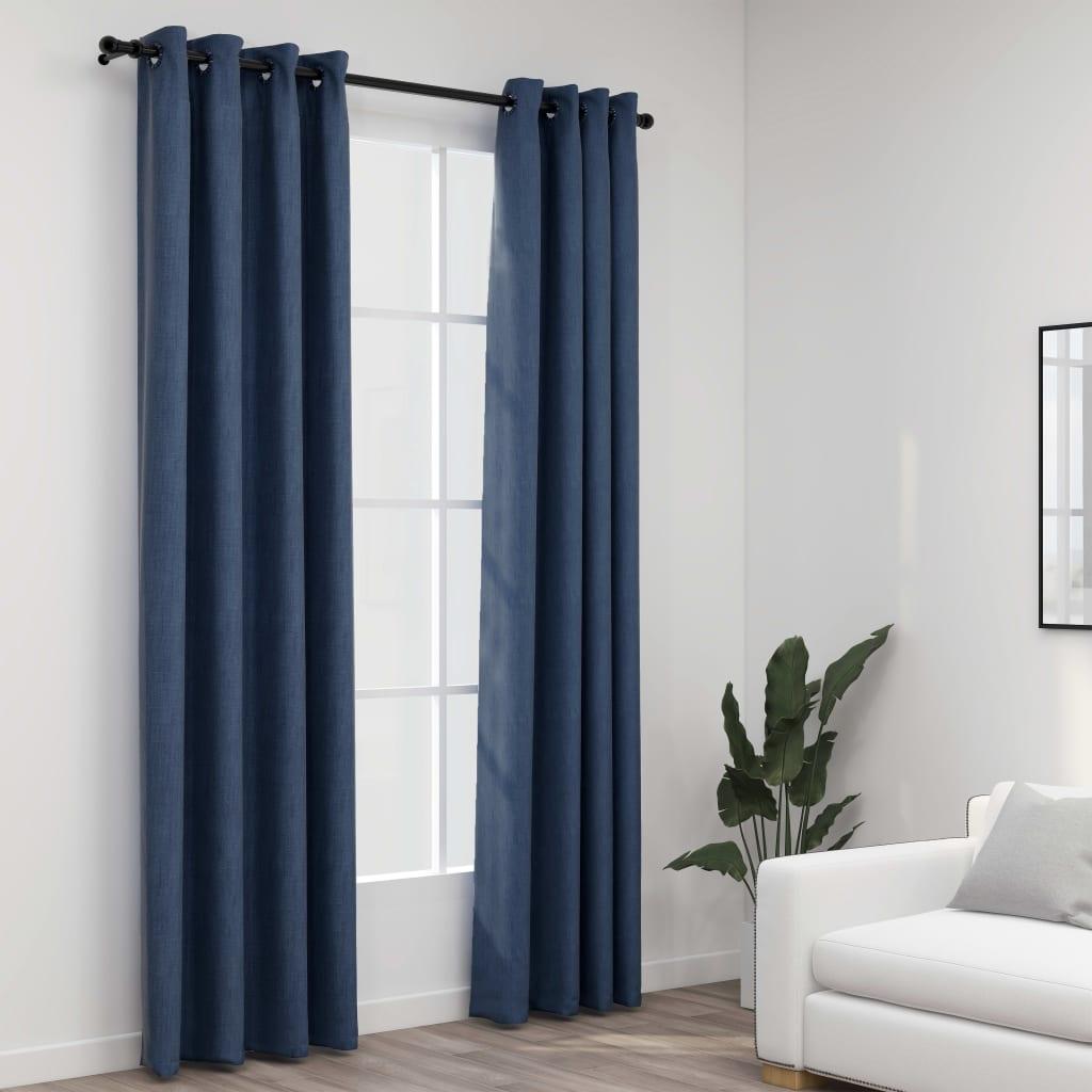 Lot de 2 rideaux Blackout + Œillets 140x245cm Lin Bleu