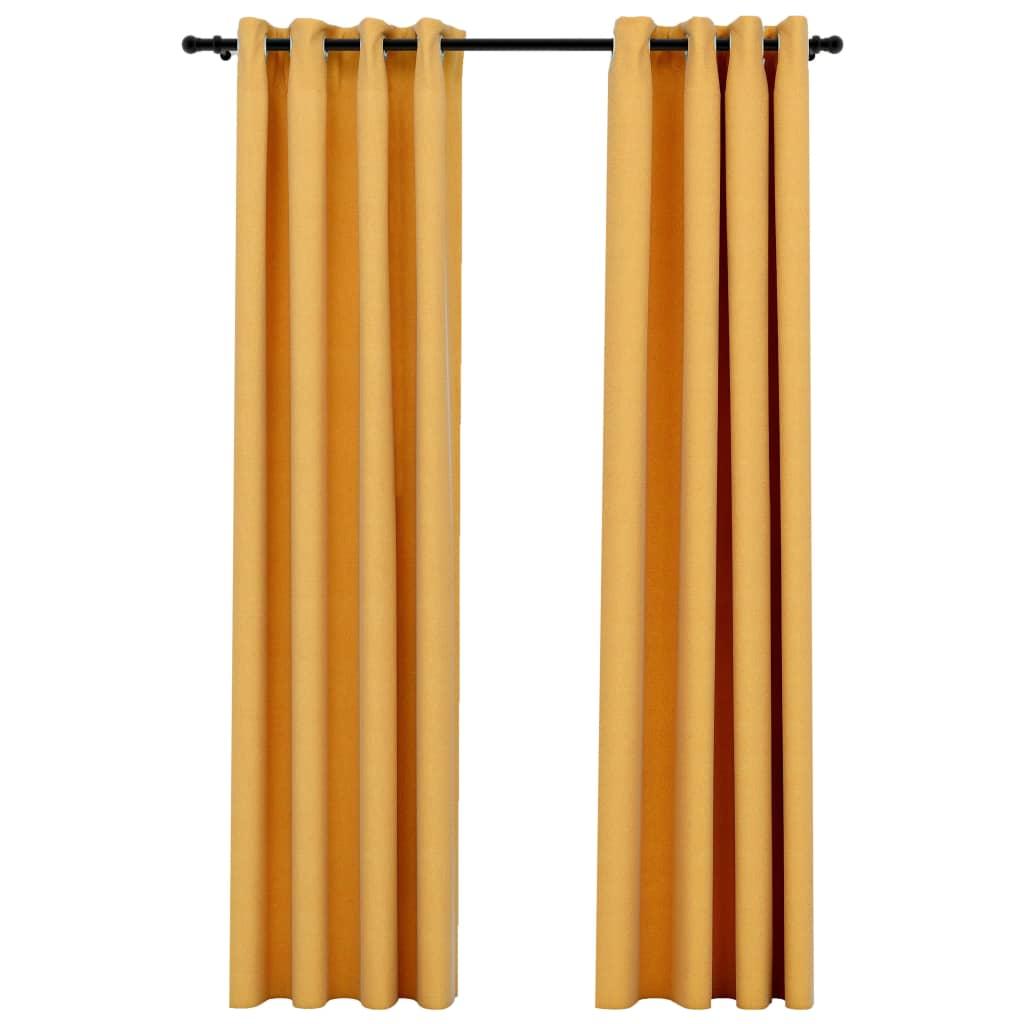 Lot de 2 rideaux Blackout + Œillets 140x245cm Lin Jaune