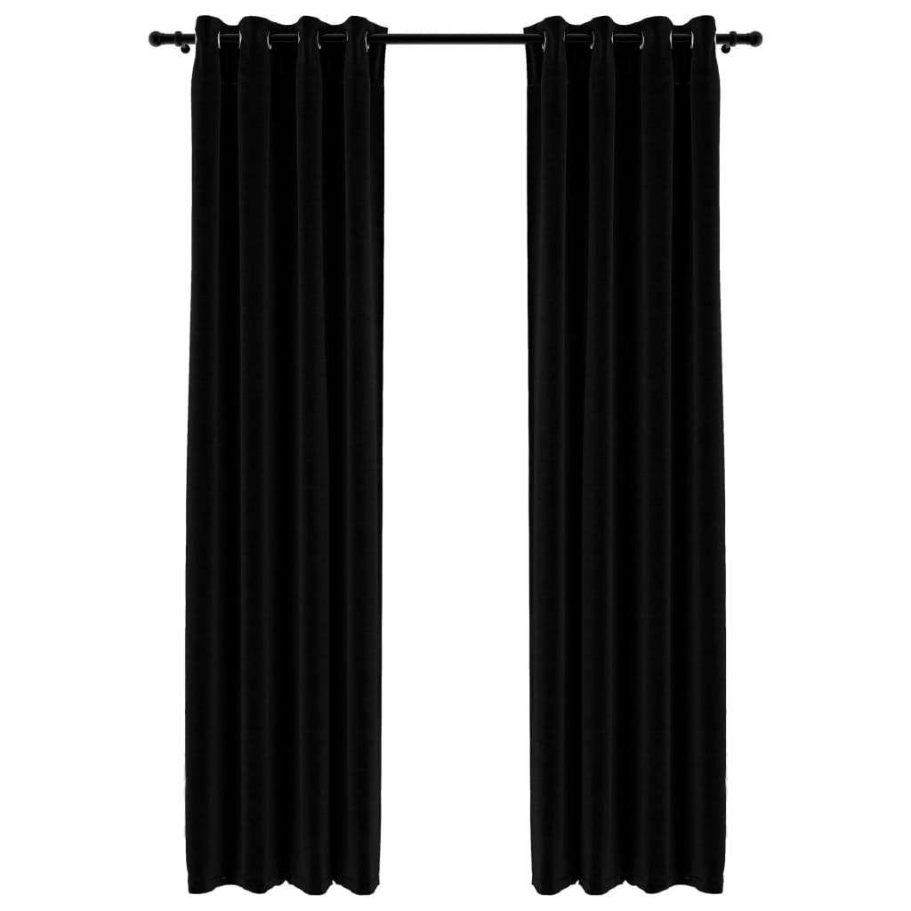 Lot de 2 rideaux Blackout + Œillets 140x245cm Lin Noir