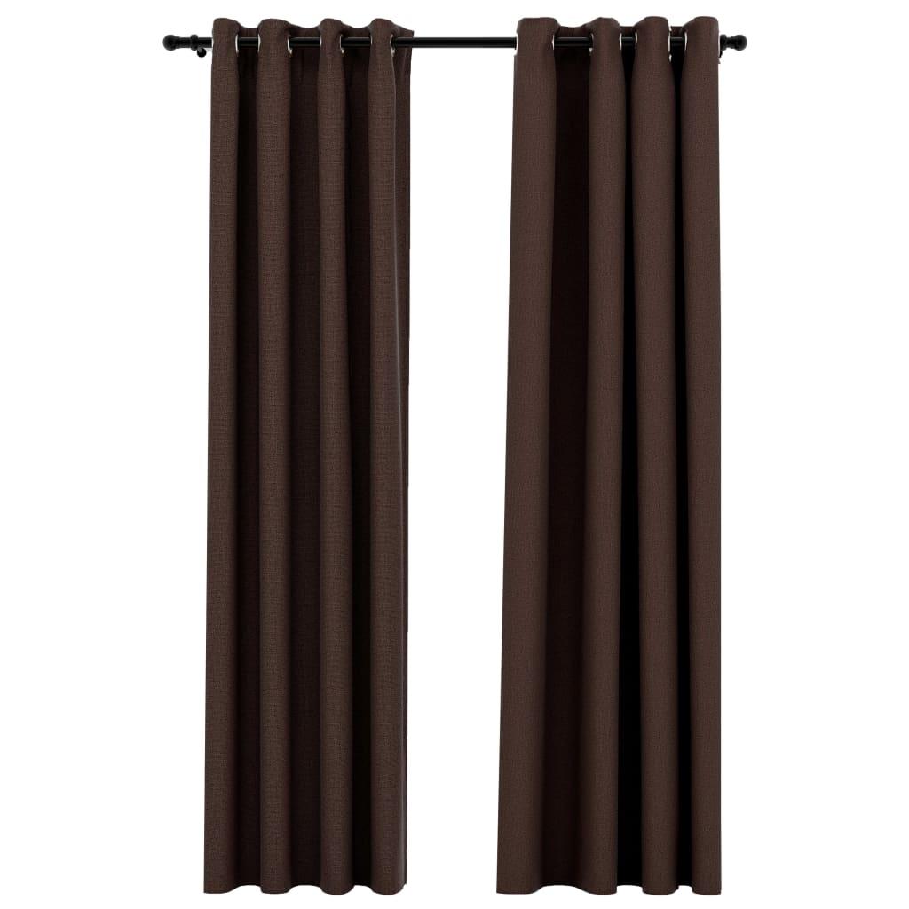 Lot de 2 rideaux Blackout + Œillets 140x245cm Lin Taupe