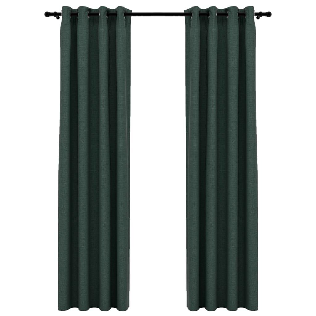 Lot de 2 rideaux Blackout + Œillets 140x245cm Lin Vert
