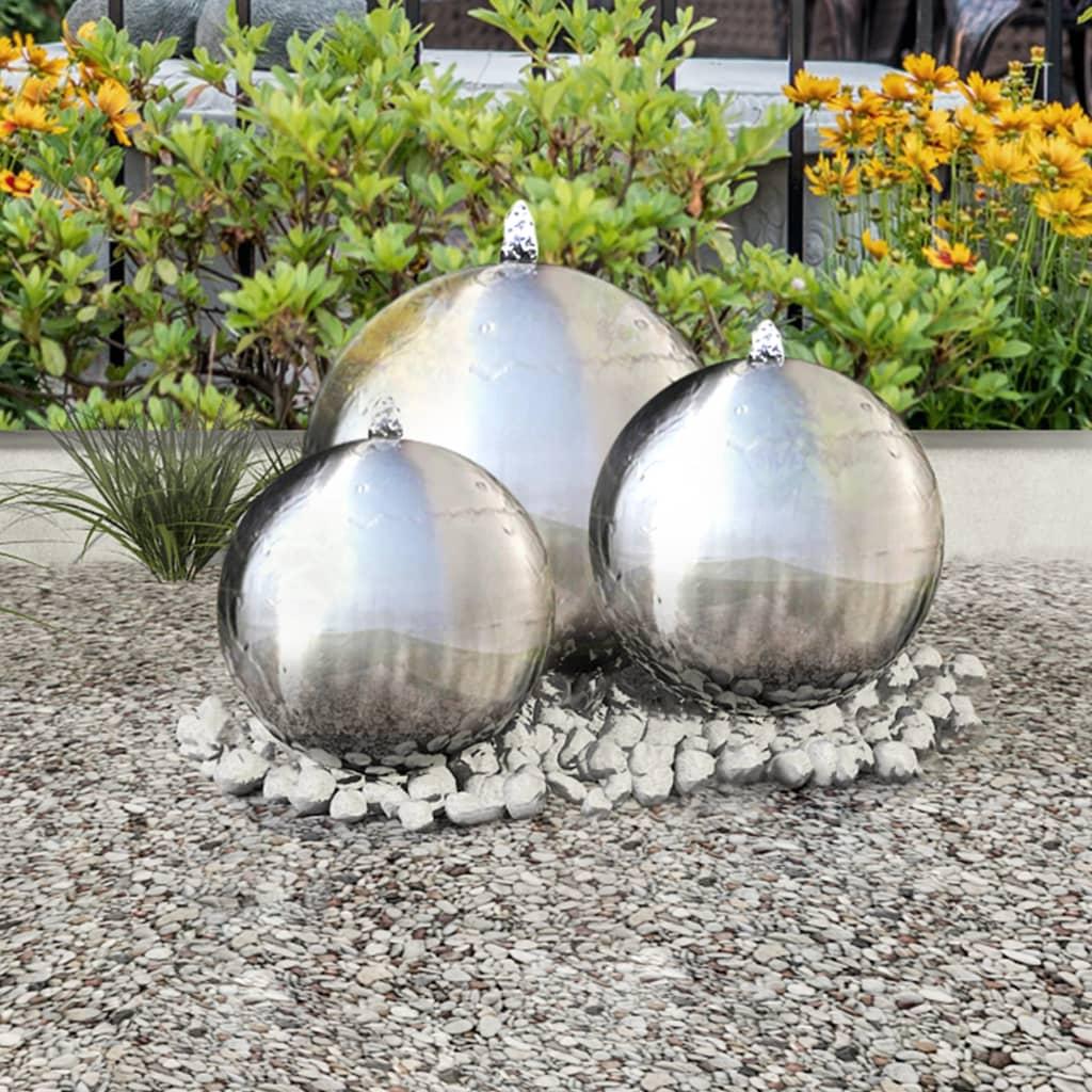 Lot de 3 fontaines de jardin Altaïr Acier inoxydable Argent avec LED