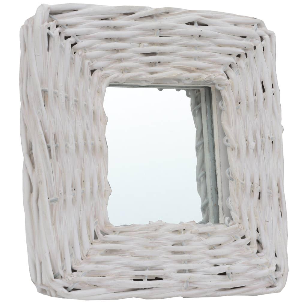 Lot de 3 miroirs carrés Champetral 15x15cm Osier Blanc