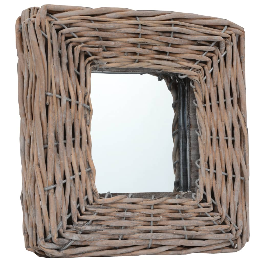 Lot de 3 miroirs carrés Champetral 15x15cm Osier Marron