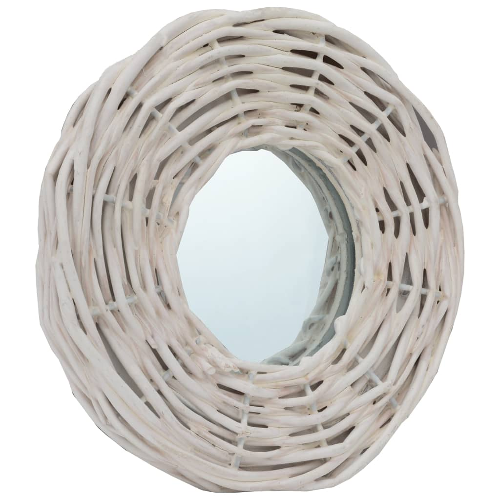 Lot de 3 miroirs ronds Champetral 15x15cm Osier Blanc