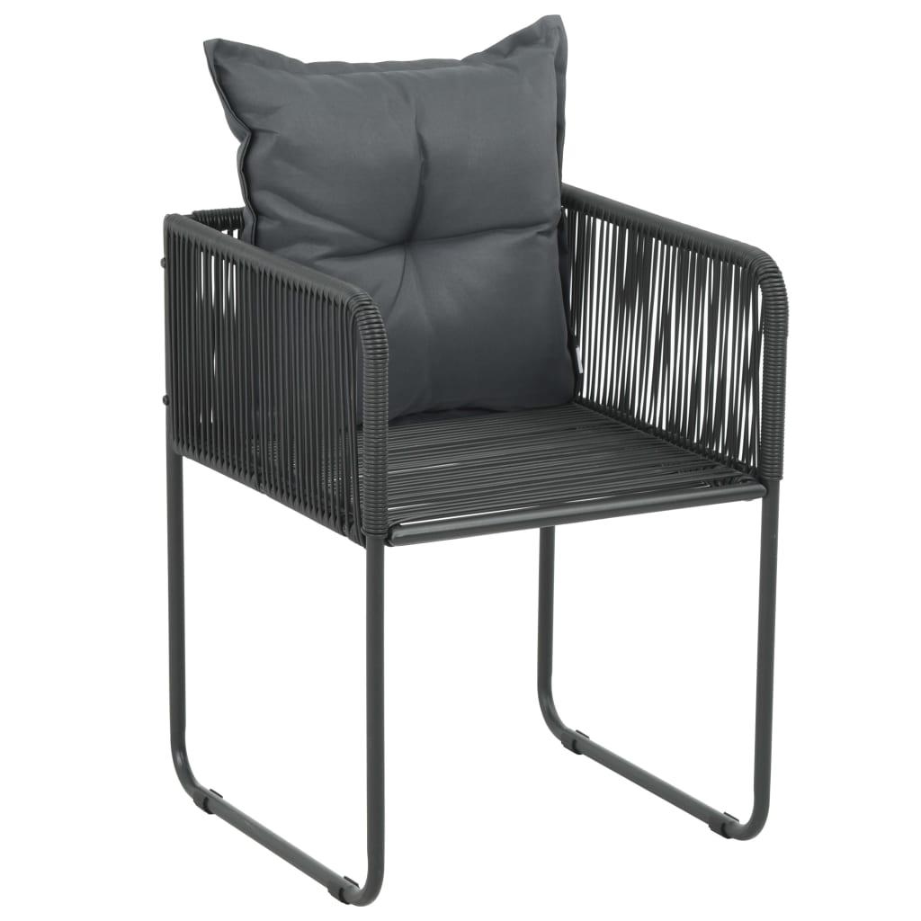 Lot de 4 chaises de jardin Kalmie Résine tressée Noir