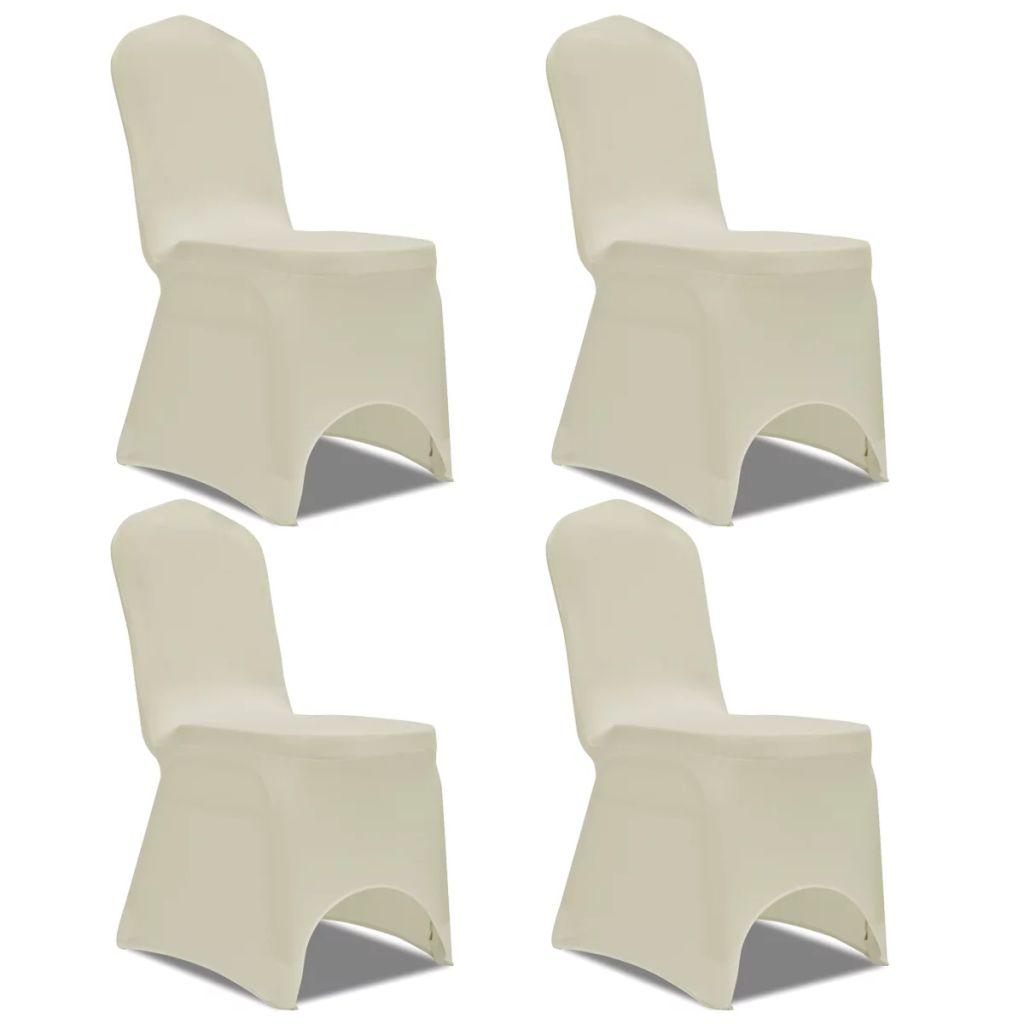 Lot de 4 Housses de chaise extensible Gagny Tissu Blanc Crème