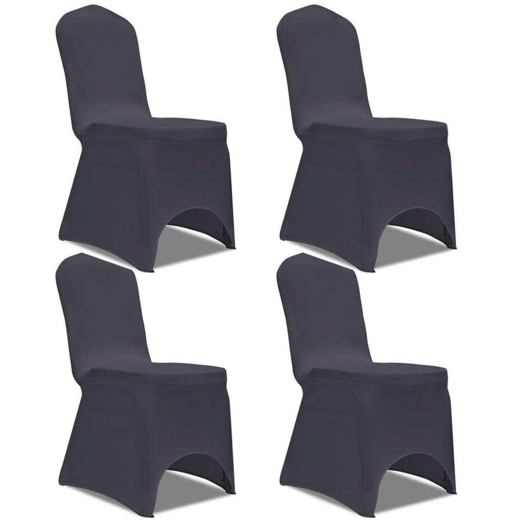 Lot de 4 Housses de chaise extensible Gagny Tissu Gris