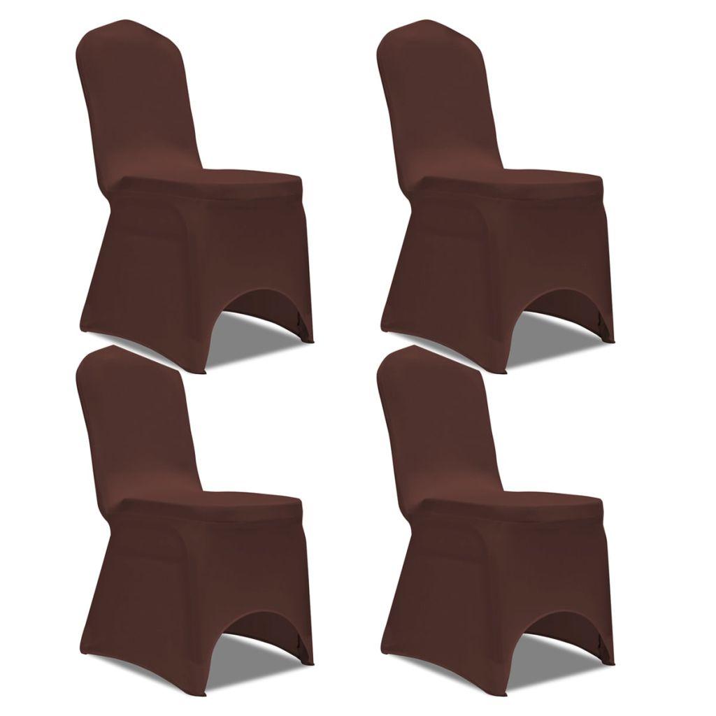 Lot de 4 Housses de chaise extensible Gagny Tissu Marron