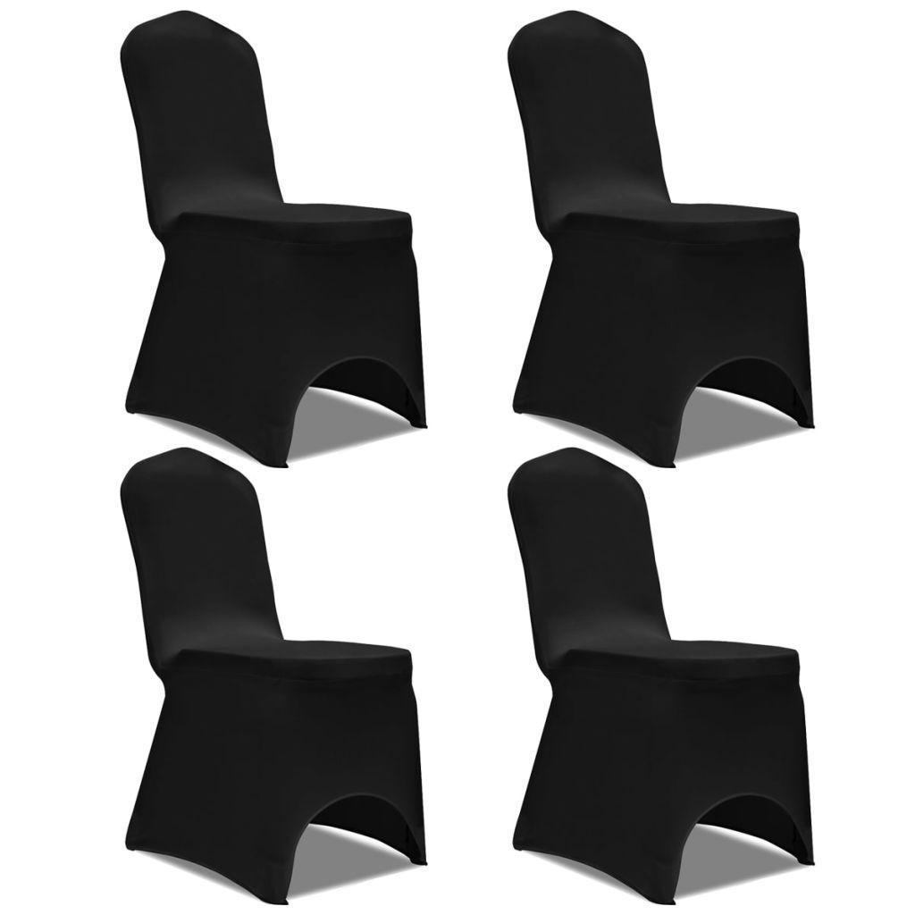 Lot de 4 Housses de chaise extensible Gagny Tissu Noir