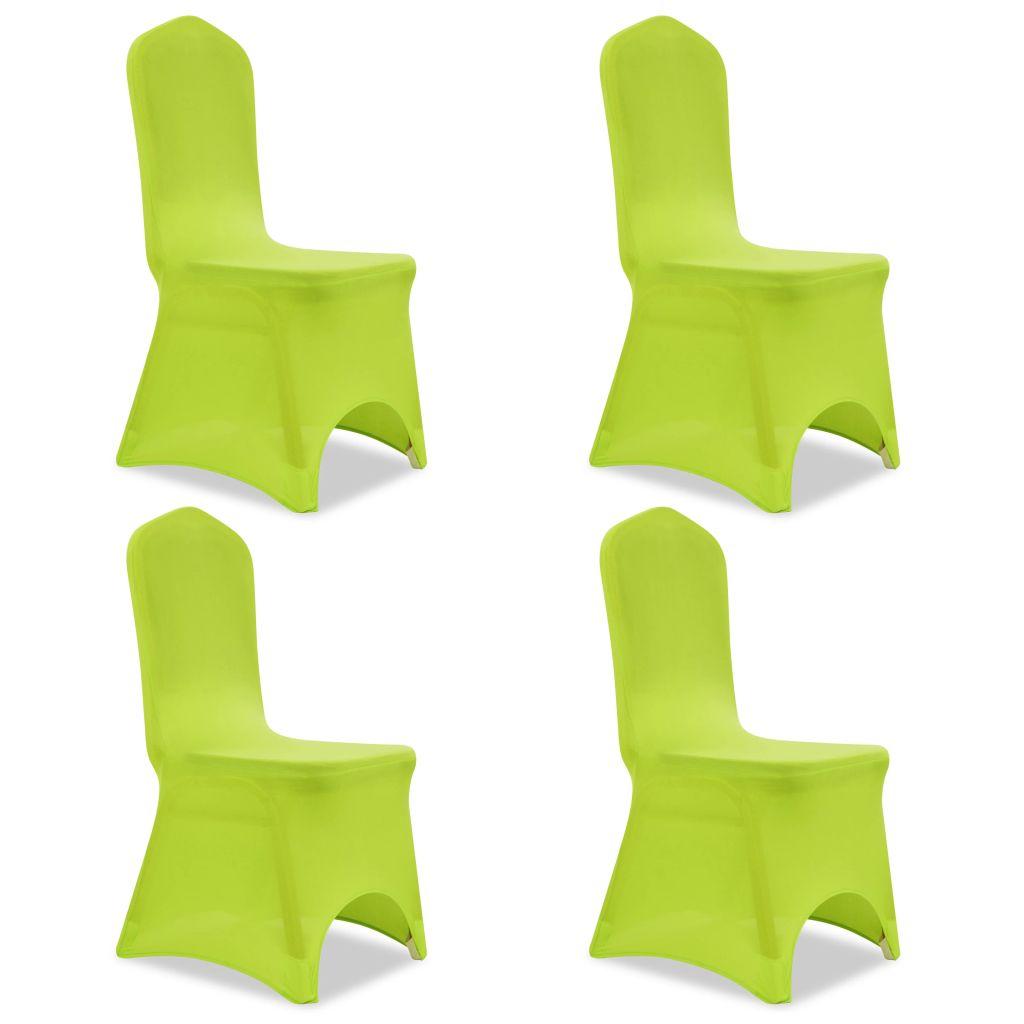 Lot de 4 Housses de chaise extensible Gagny Tissu Vert