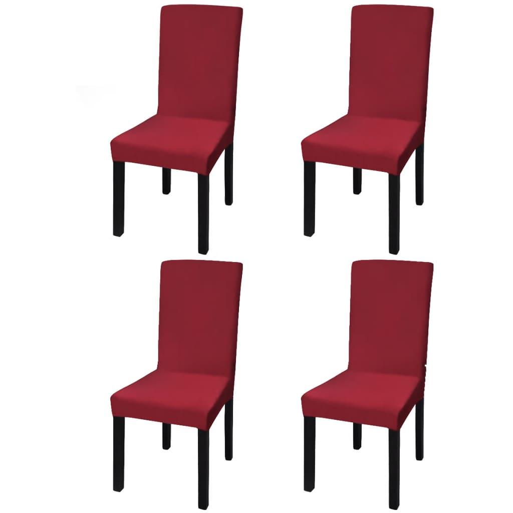 Lot de 4 housses de chaise extensible Gartempe Tissu Bordeaux