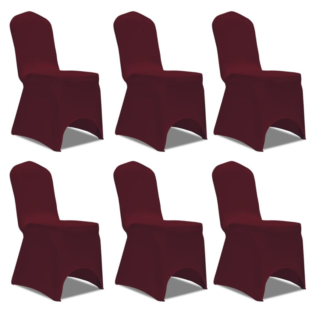 Lot de 6 Housses de chaise extensible Gagny Tissu bordeaux
