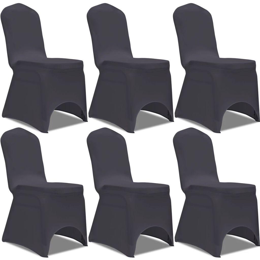 Lot de 6 Housses de chaise extensible Gagny Tissu Gris