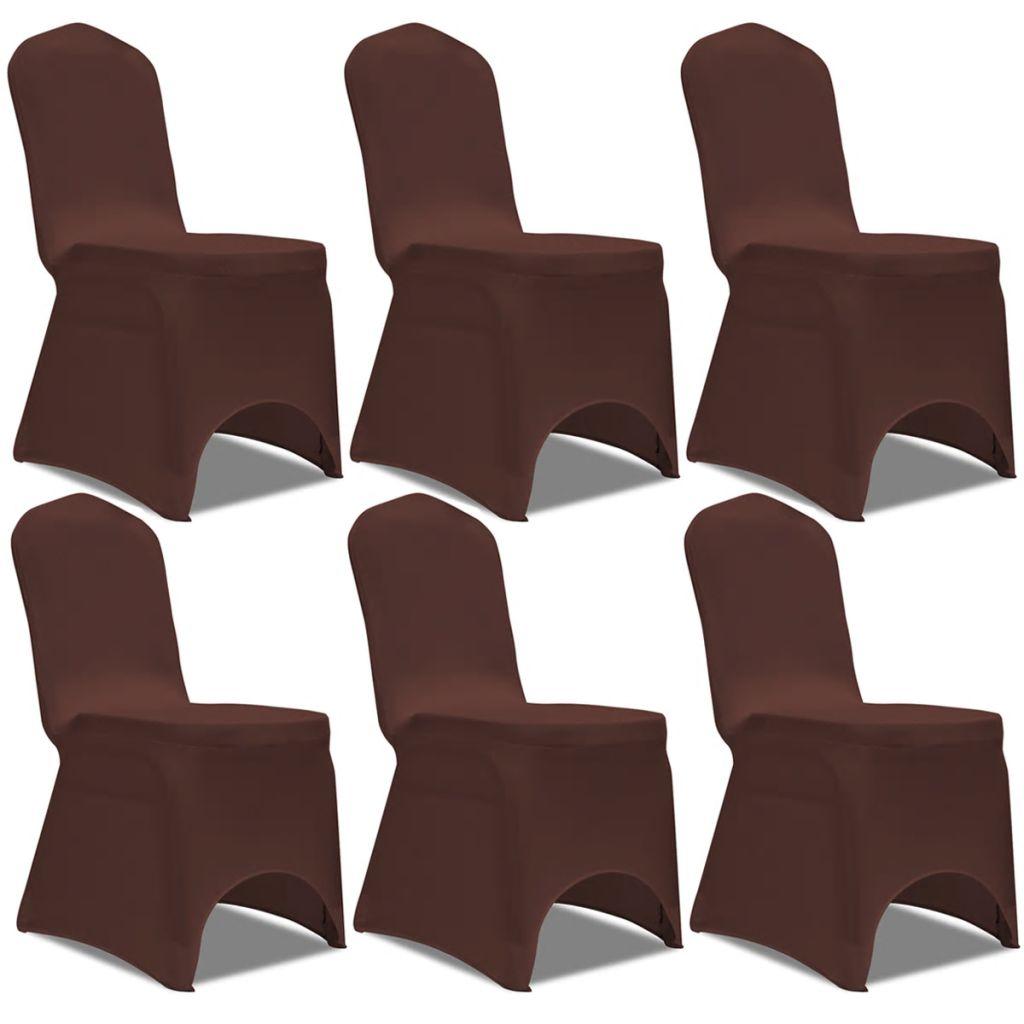 Lot de 6 Housses de chaise extensible Gagny Tissu Marron