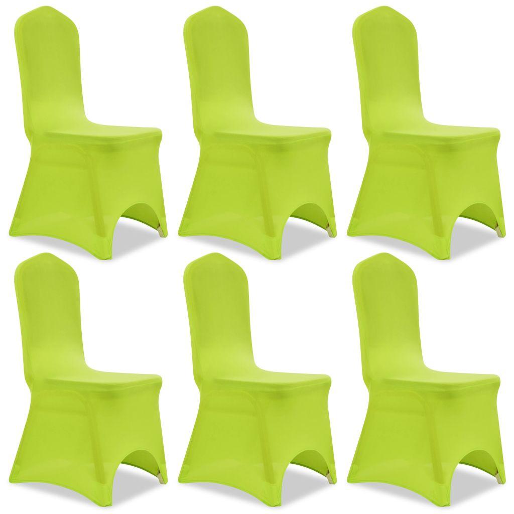 Lot de 6 Housses de chaise extensible Gagny Tissu Vert