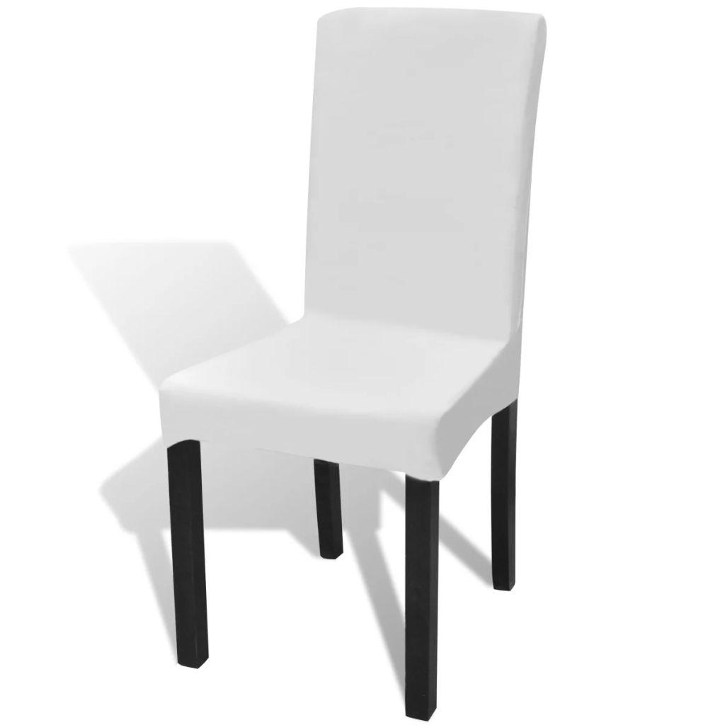 Lot de 6 housses de chaise extensible Gartempe Tissu Blanc