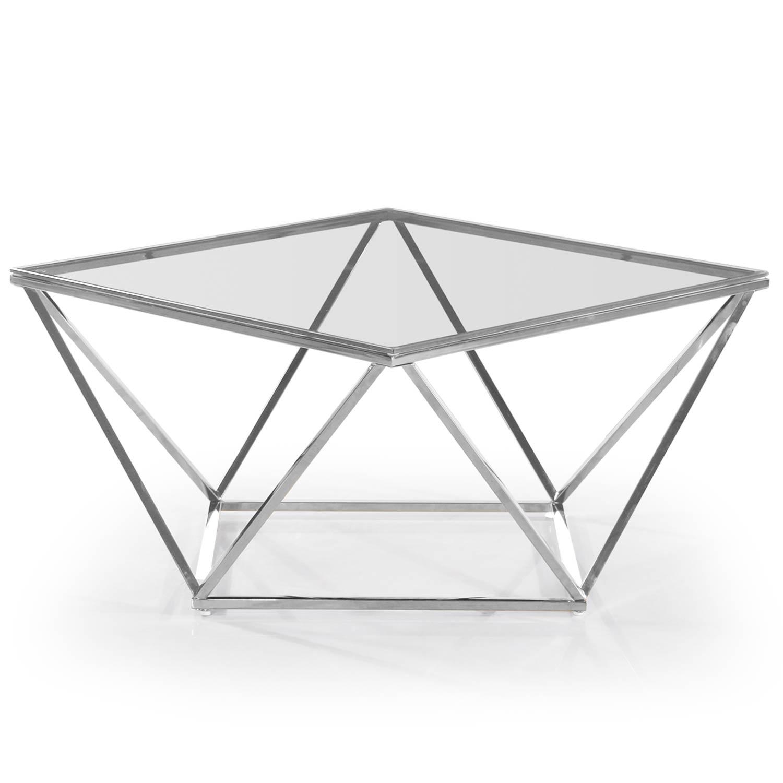 Table basse Louane en Verre Transparent et pieds Argent