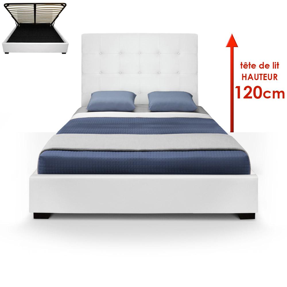 Lit Coffre Trevene + Sommier 140cm Blanc