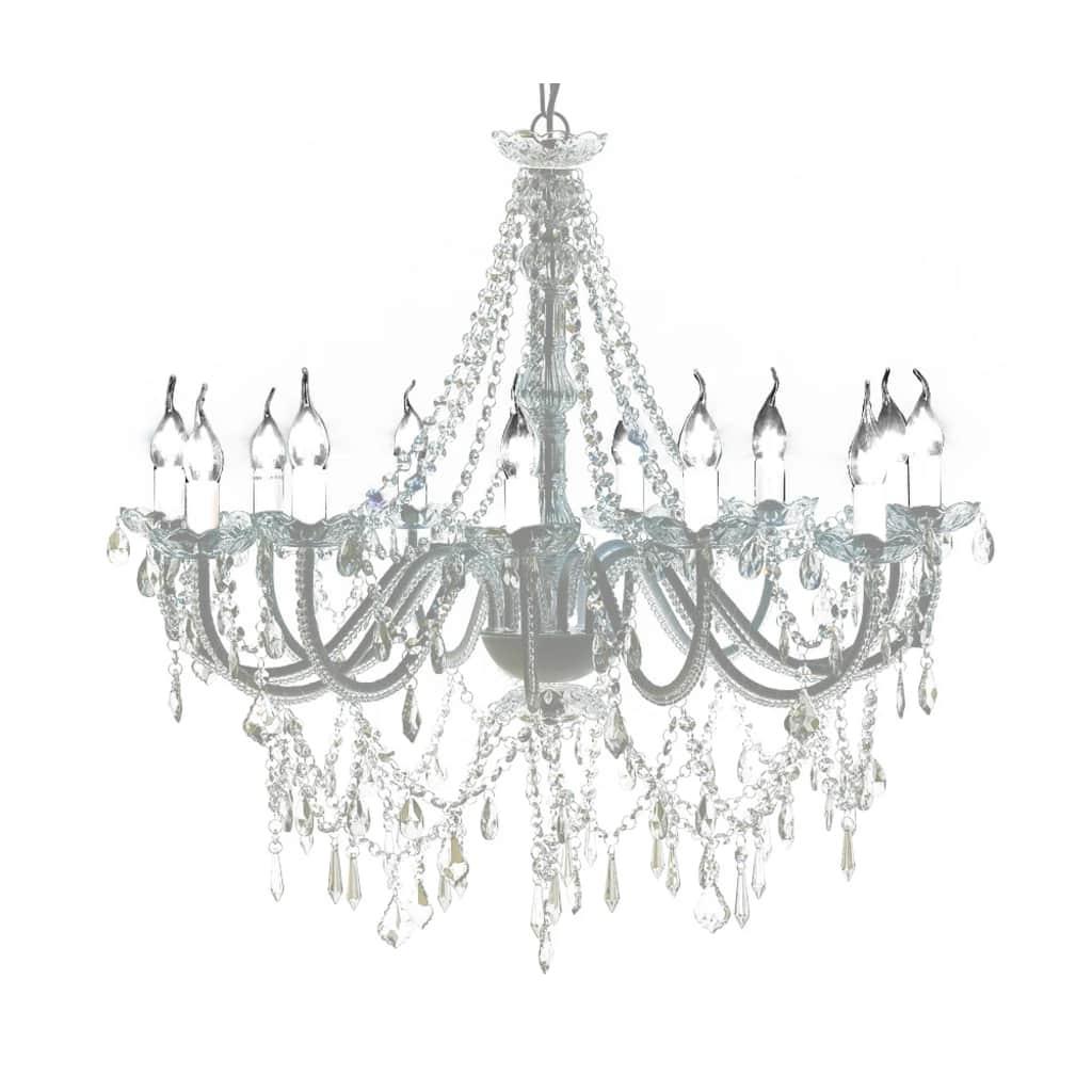 Lustre vénitien baroque Gabrielle Blanc 12 feux 1600 cristaux