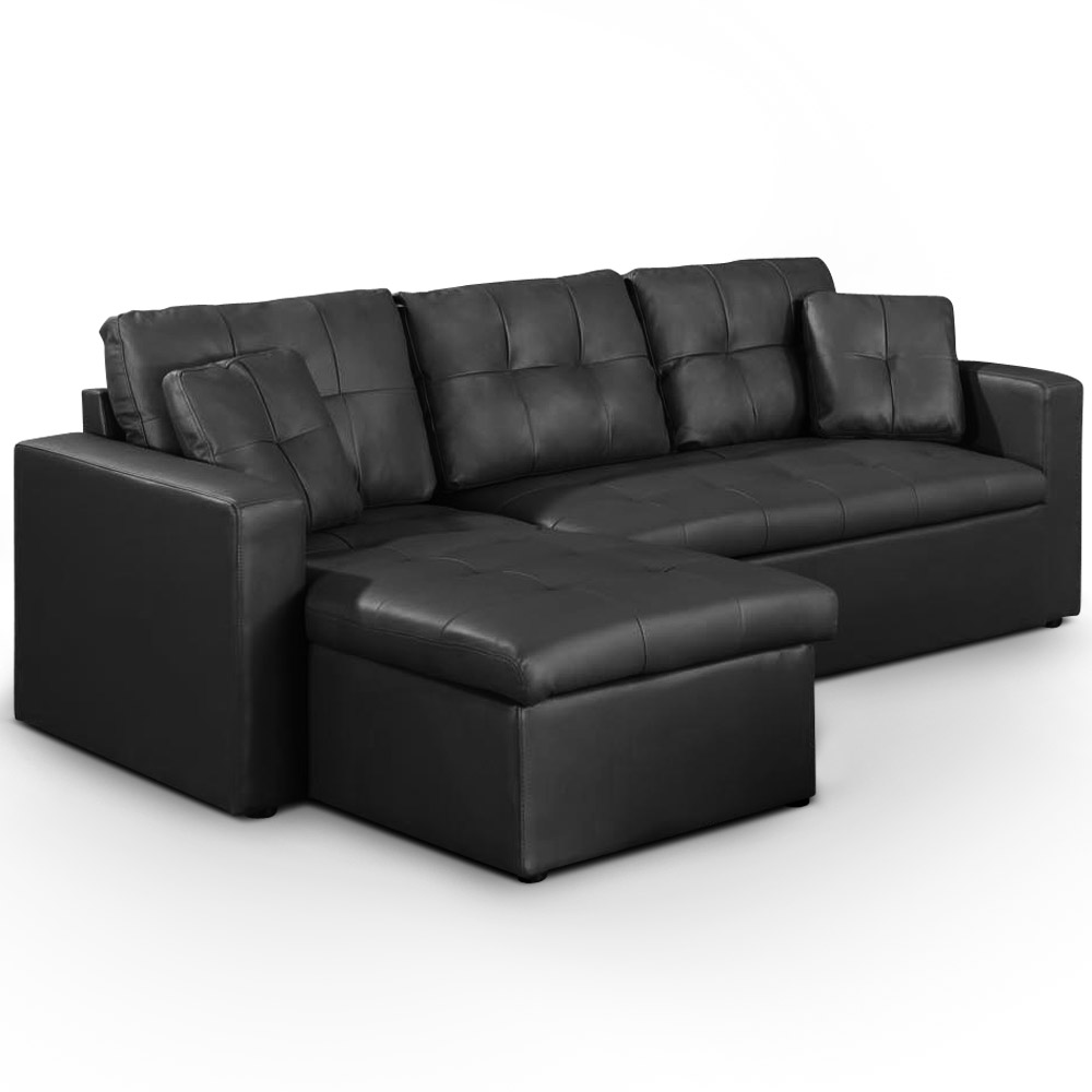 Canapé d'angle convertible Toledo Noir