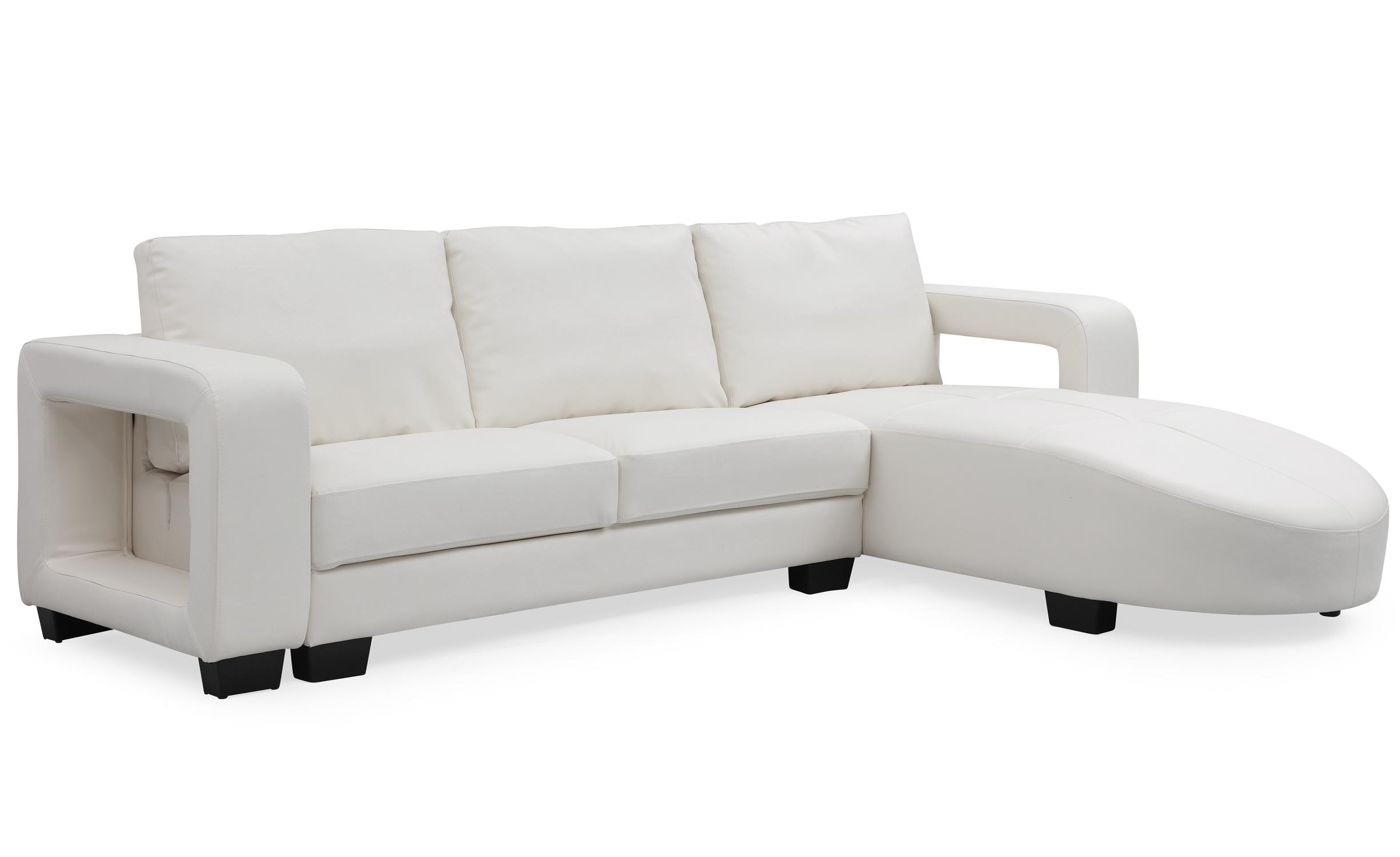 Canapé d'angle en simili cuir Matha Blanc