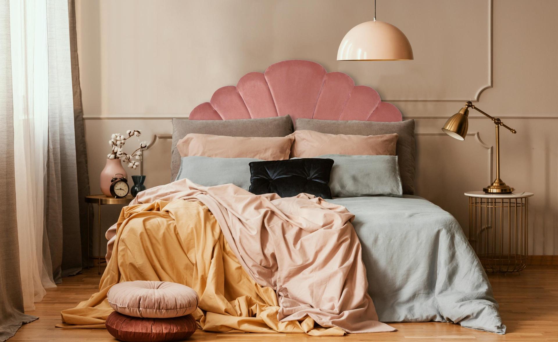 Tête de lit Mermaid 140 cm Velours Rose