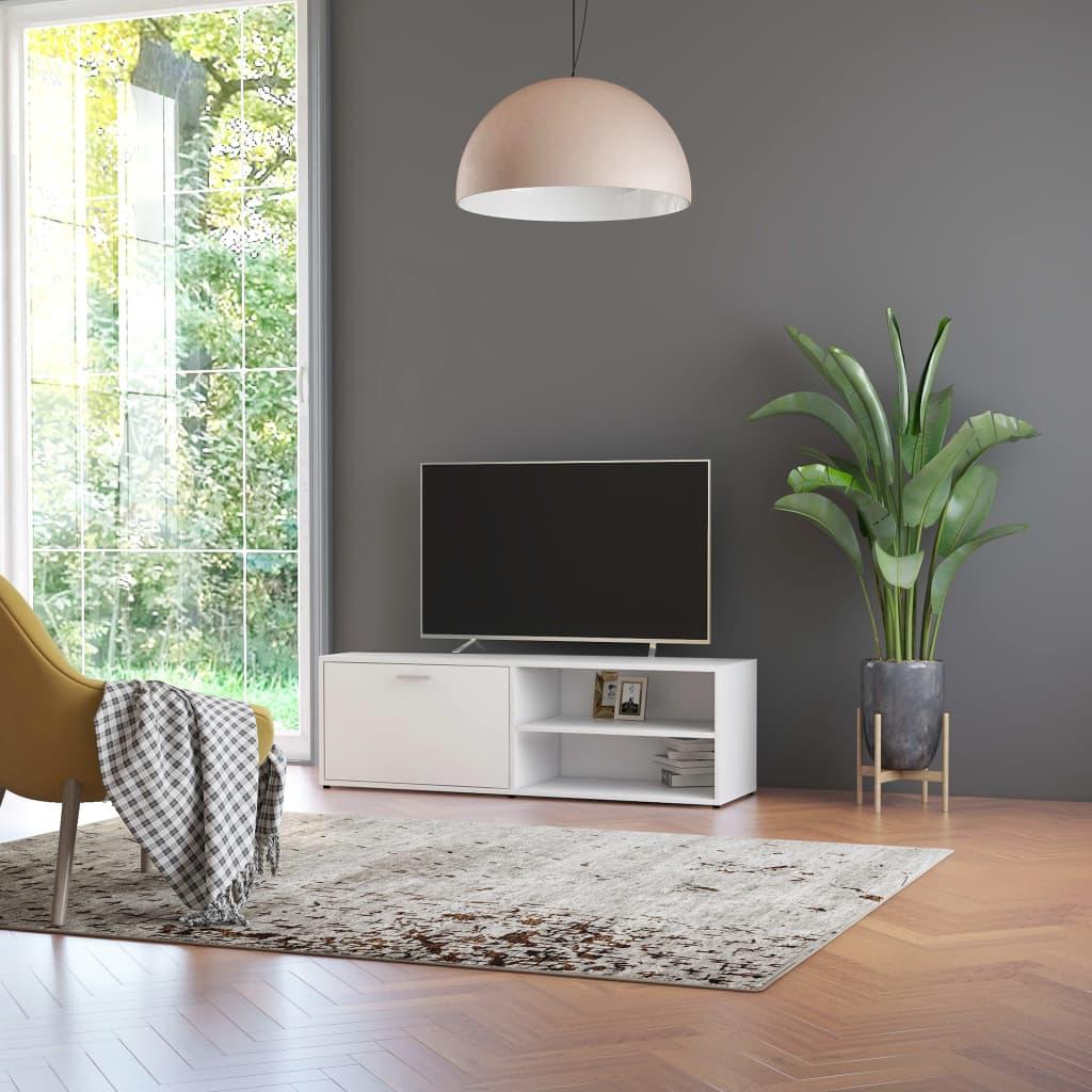Meuble TV 1 porte 2 étagères Esmaragda 120cm Bois Blanc