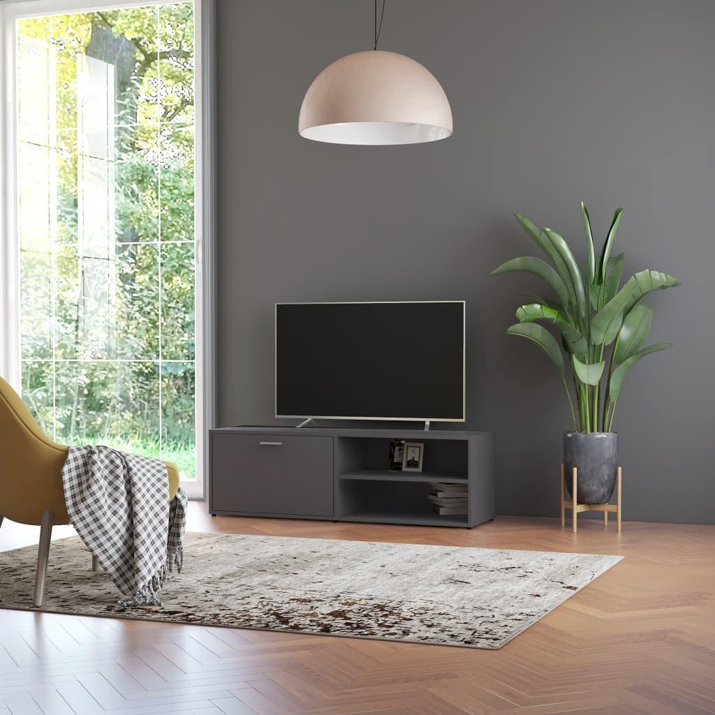 Meuble TV 1 porte 2 étagères Esmaragda 120cm Bois Gris