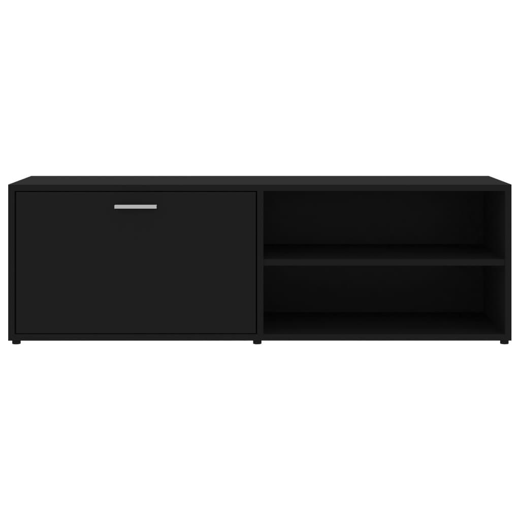 Meuble TV 1 porte battante 2 étagères Esmaragda 120cm Bois Noir