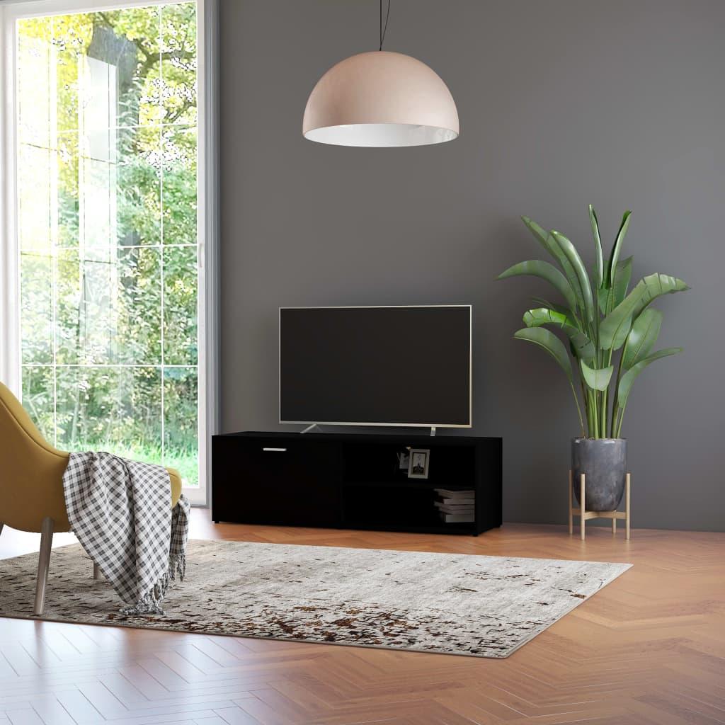 Meuble TV 1 porte 2 étagères Esmaragda 120cm Bois Noir