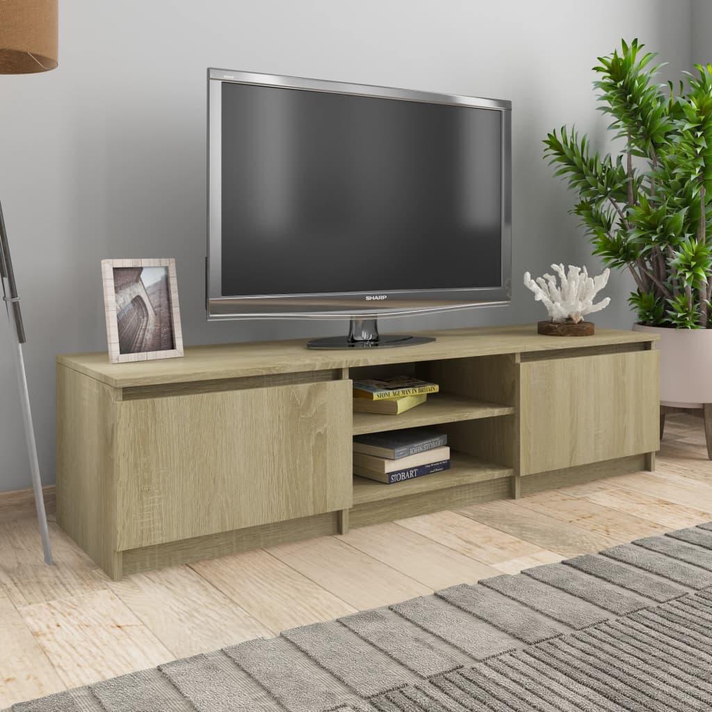 Meuble TV 2 portes 2 étagères Moumou 140cm Bois Chêne