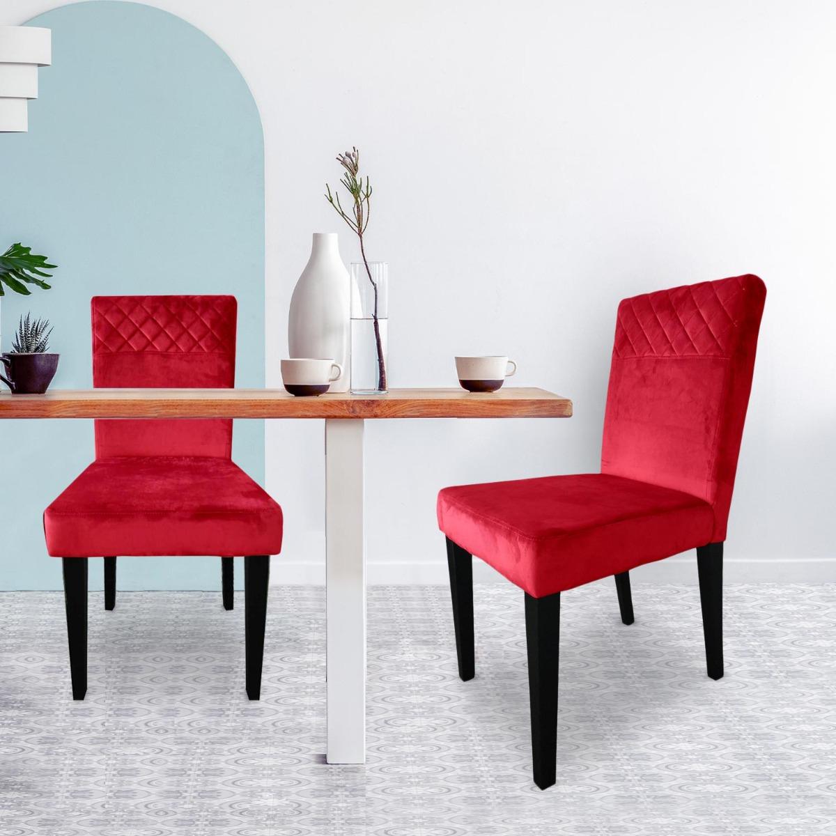 Lot de 2 chaises matelassées Milo Velours Rouge