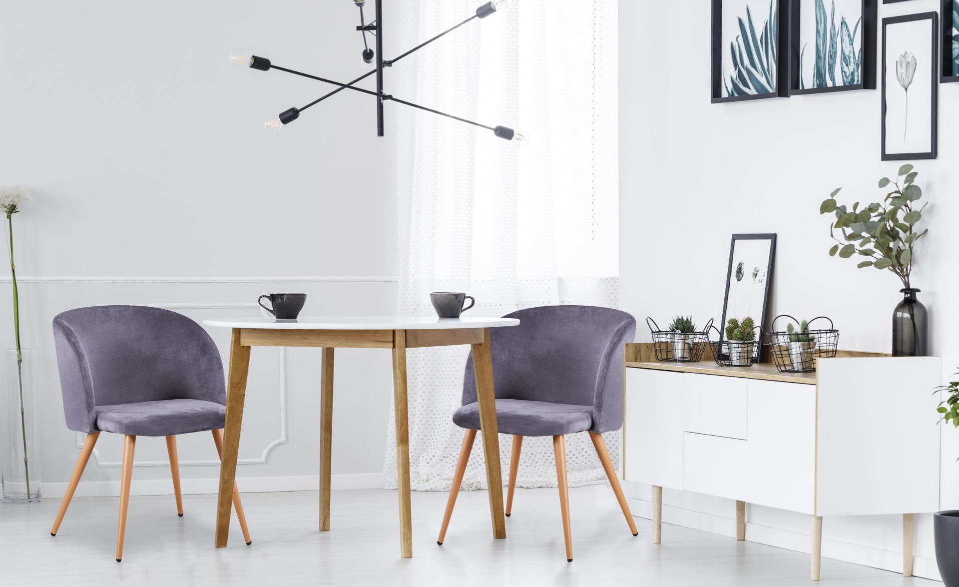 Lot de 2 chaises scandinaves Minima velours Gris