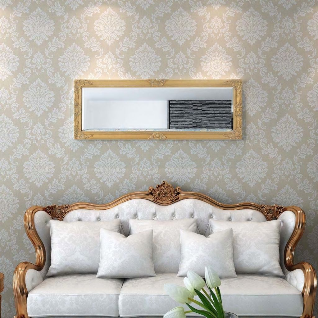 Miroir mural rectangulaire Charlemagne 50x140cm Or