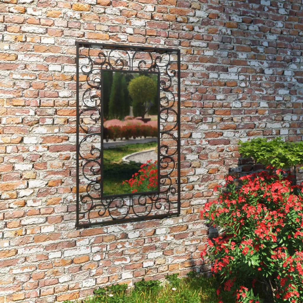 Miroir mural rectangulaire de jardin Lotus 50x80cm Noir
