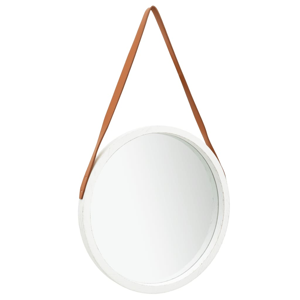 Miroir mural ronde avec sangle Cyclope D50cm Blanc