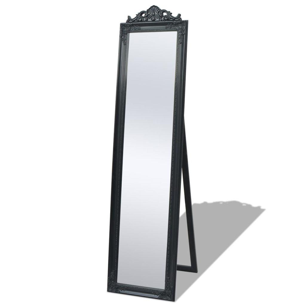 Miroir sur pied style baroque Windiane 40x160cm Noir