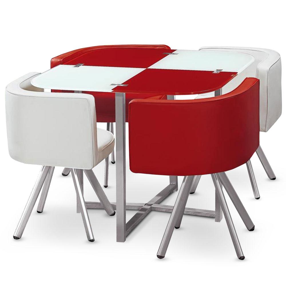 Table carrée pratique gain de place Mosaic 90 verre rouge et blanc