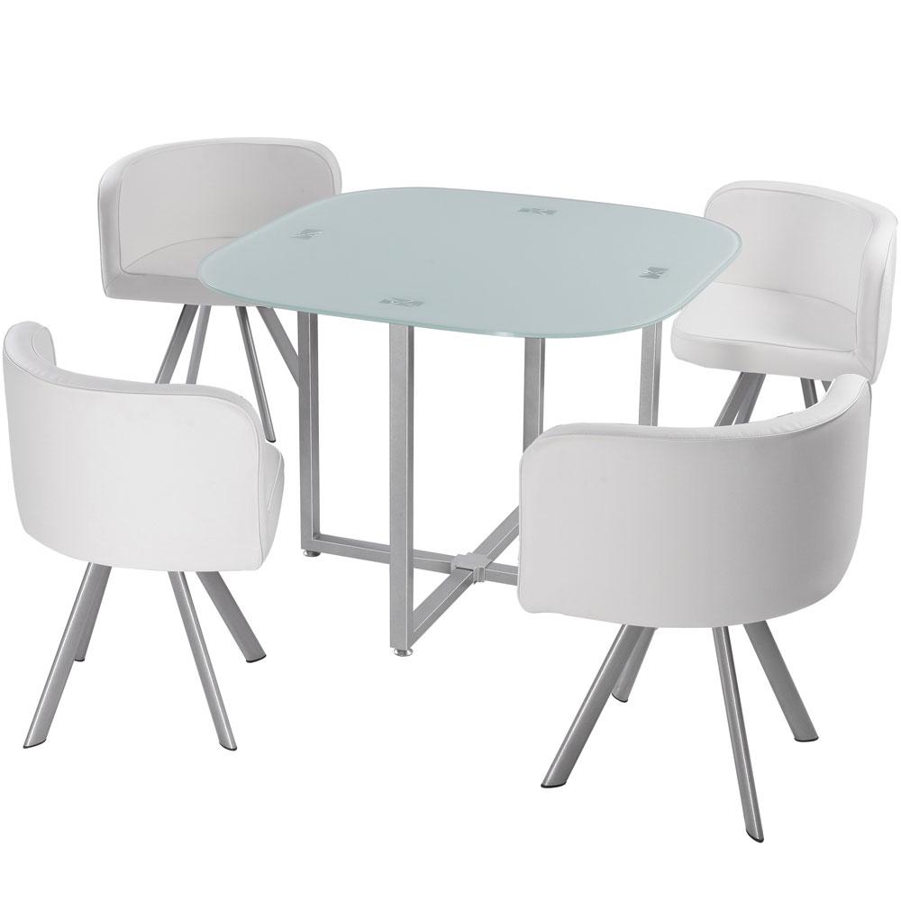Table carrée pratique gain de place Mosaic 90 verre blanc