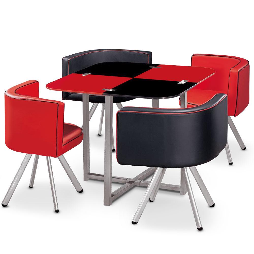Table carrée Mosaic 90 en verre rouge et noir - pratique gain de place avec ses 4 sièges encastrables