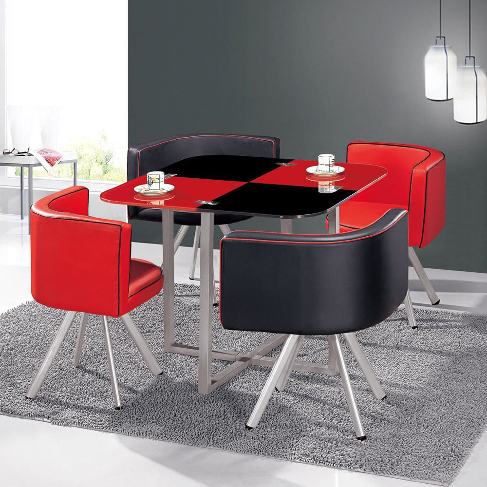 Table et chaises Mosaic 90 Rouge et Noir