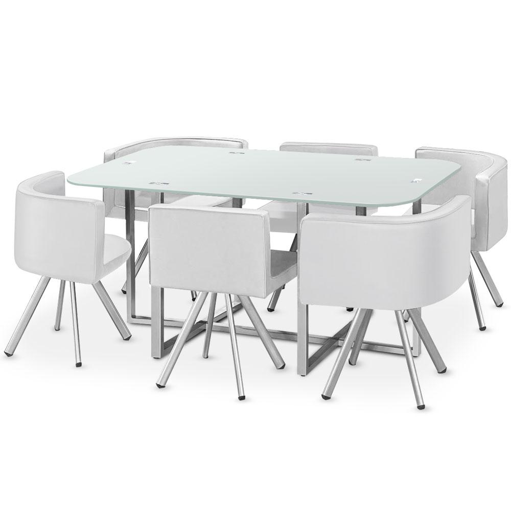 Table rectangulaire pratique gain de place Mosaic XL verre blanc