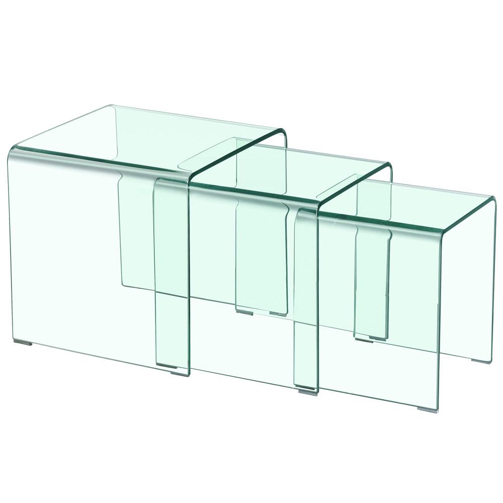 Table basse type gigogne Verra verre tranparent