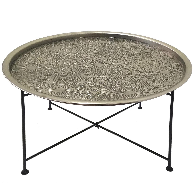 Table basse ronde Mouva Nickel et Noir