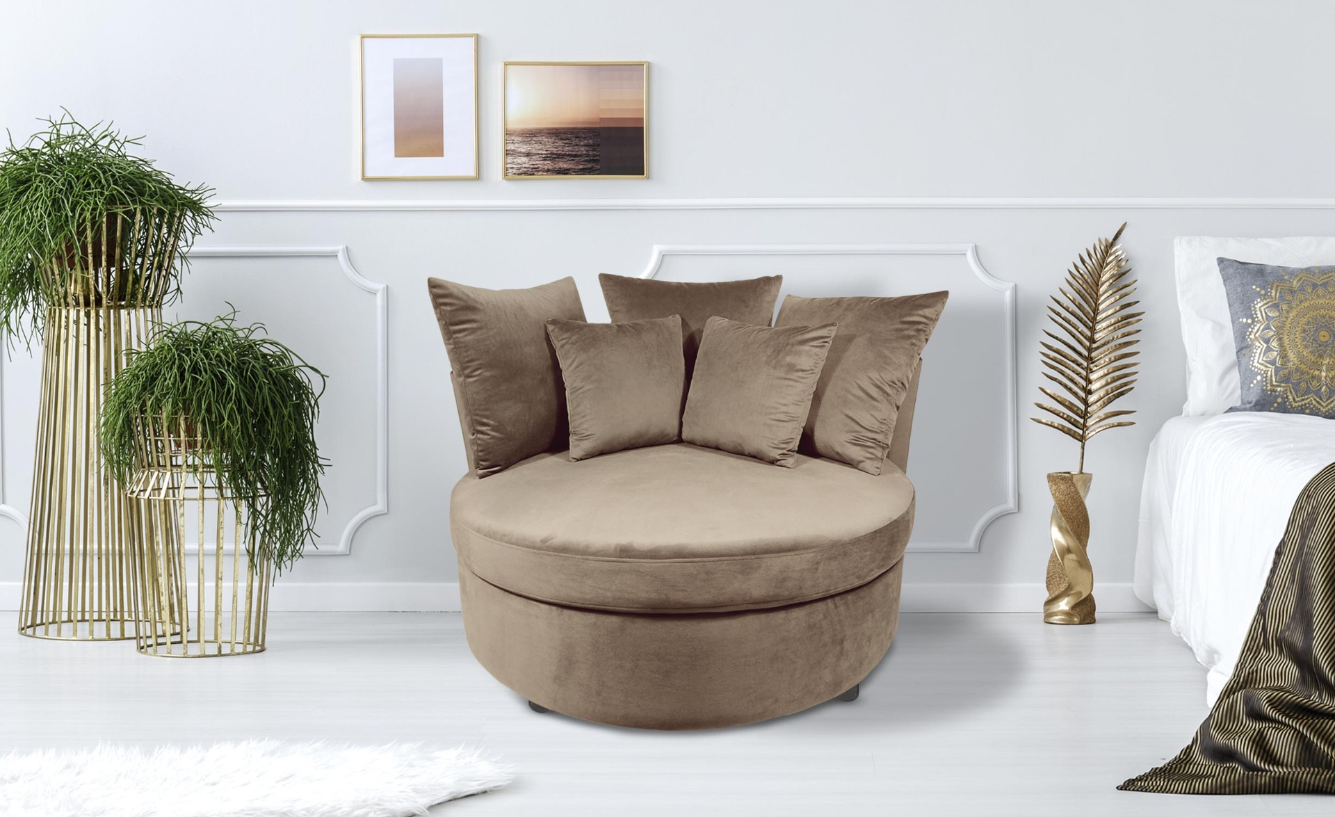 Fauteuil XXL Musso Velours Taupe