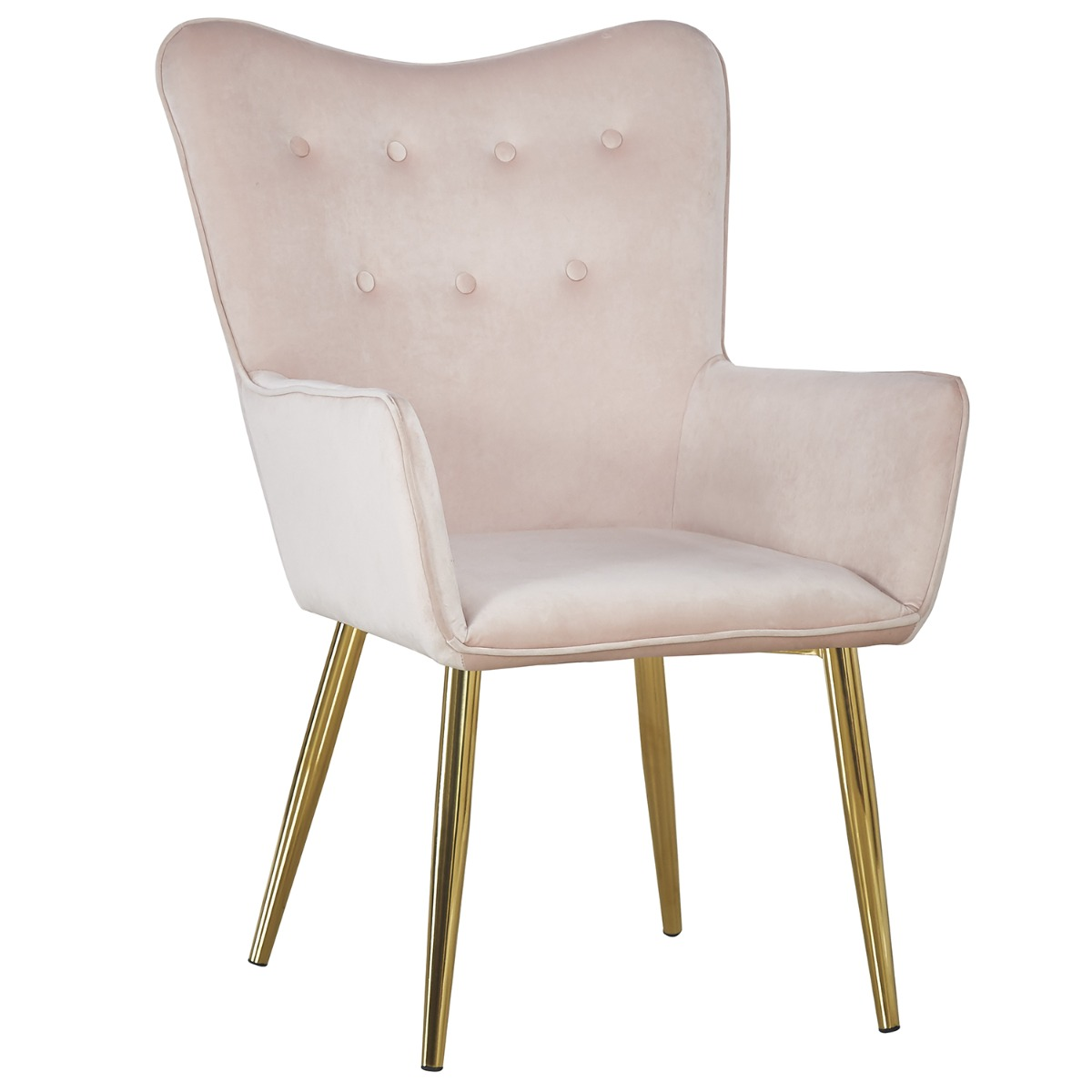Fauteuil scandinave Nadol Velours Rose pieds Or
