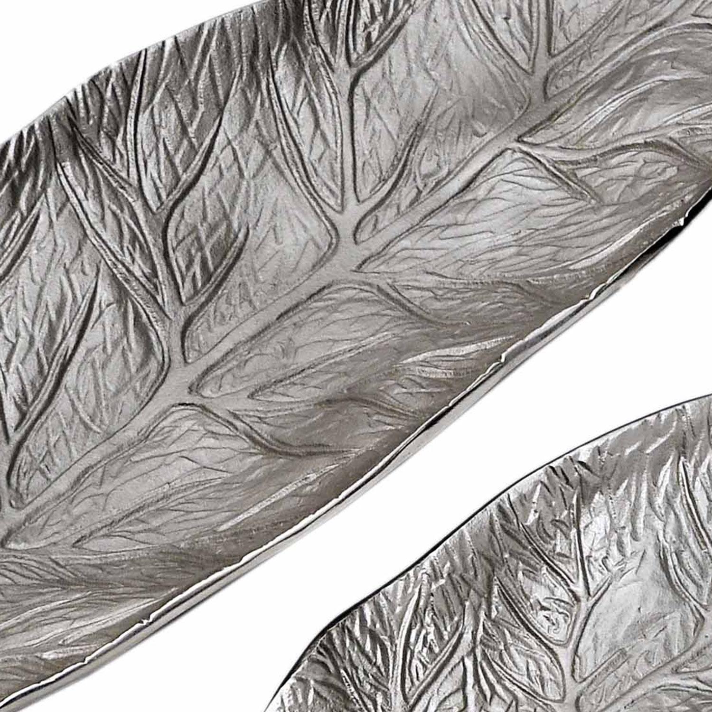 Set de 3 plateaux feuilles Natura Nickel