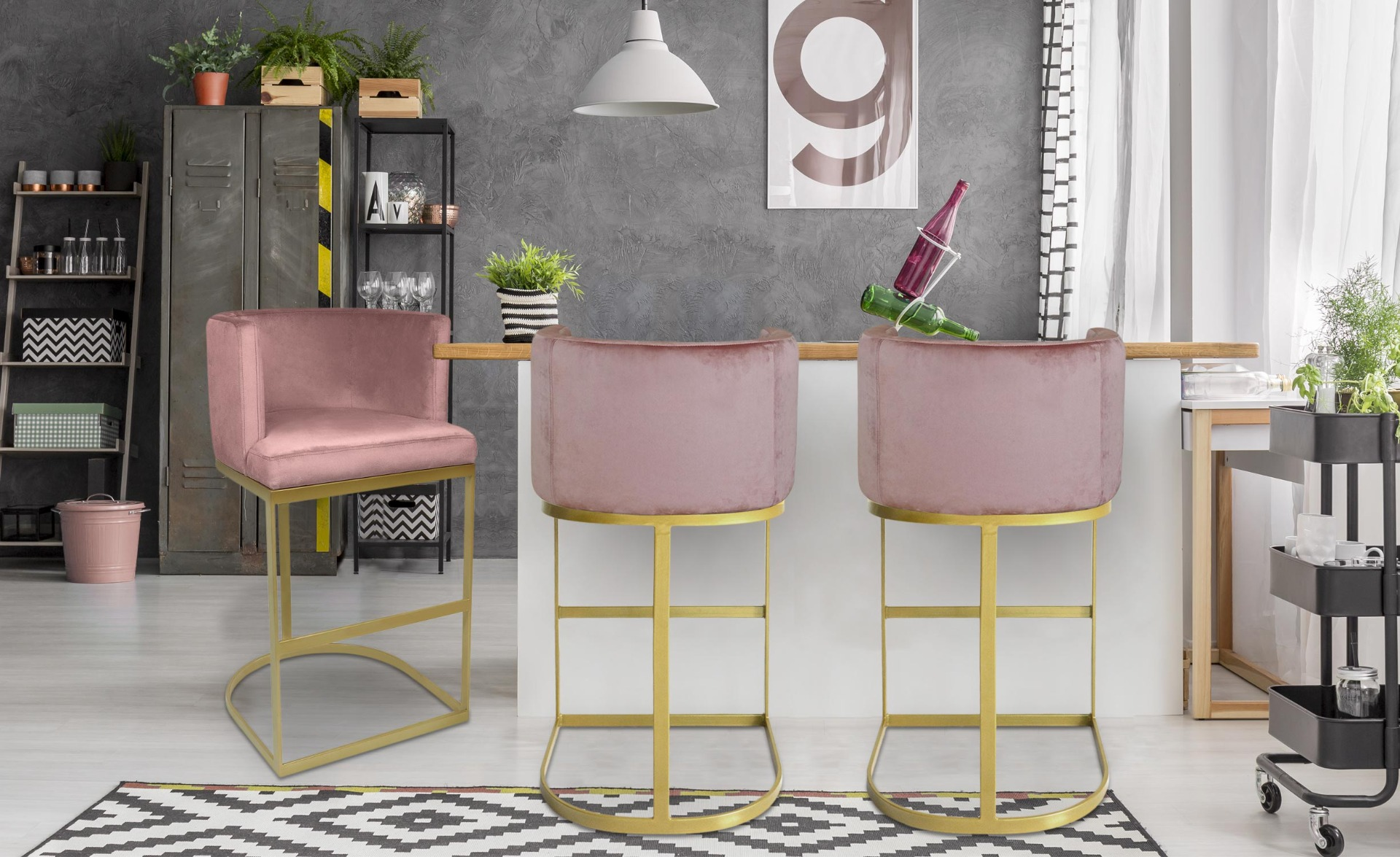 Chaise de bar Noellie Velours Rose Pieds Or